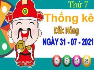 Thống kê XSDNO ngày 31/7/2021 đài Đắk Nông thứ 7 hôm nay chính xác nhất